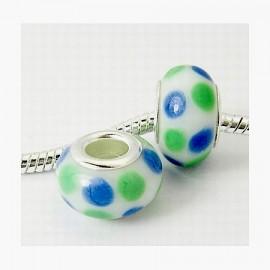 2 perles europeennes au chalumeau vertes et bleues pour cuir 5mm
