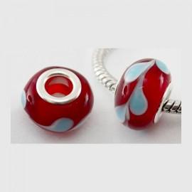 2 perles europeennes lampwork rouges pour cuir 5mm