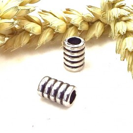 2 perles passe cuir metal argente spirale pour cuir interieur 4mm