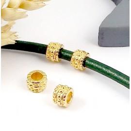2 perles rondes zamak flashe or haute qualite interieur 4mm