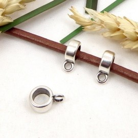 20 perles belieres plaque argent 8x4mm avec anneau pour cuir 5mm