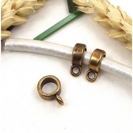 3 perles belieres haute qualite bronze 8x4mm avec anneau pour cuir 5mm