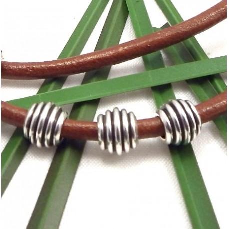 3 perles metal zamak plaque argent striees pour cuir 2 a 3mm