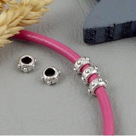 4 perles metal zamak plaque argent pour cuir 2 a 4mm