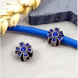 perle europeenne argent antique 6 branches avec strass bleu vif pour cuir 4mm