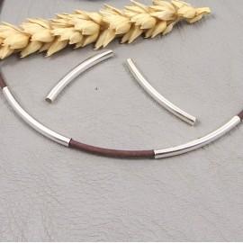4 perles tube argente 30x3mm pour cuir 2mm