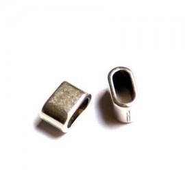 passe cuir rondelle zamak plaque argent pour cuir rond en double