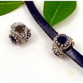perle europeenne argent antique et 3 strass noirs trou interieur 5mm