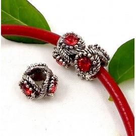 perle europeenne argent antique et 3 strass rouges trou interieur 5mm