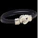 Kit tutoriel bracelet cuir coutures noir avec fermoir coeur