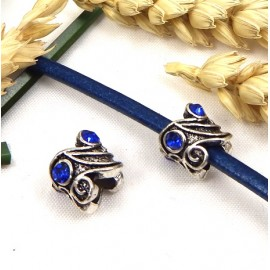 perle europeenne argent antique et strass bleu trou interieur 5.7mm