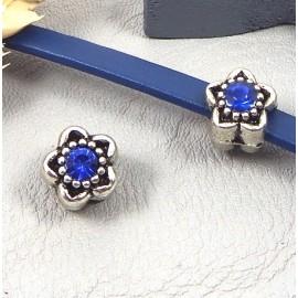 perle europeenne argent antique fleur et strass bleu trou interieur 4mm