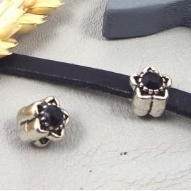 perle europeenne argent antique fleur et strass noir trou interieur 4mm