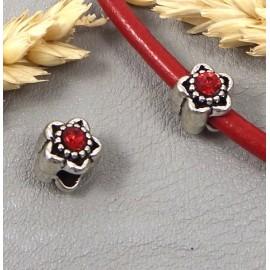 perle europeenne argent antique fleur et strass rouge trou interieur 4mm