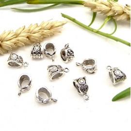 10 perles belieres argentes 13x8mm avec anneau
