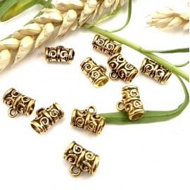 10 perles belieres ethniques dorees 11x5mm avec anneau