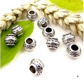 10 perles ethnique metal argente interieur 4mm