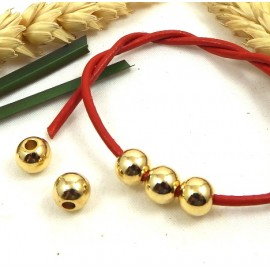 5 perles rondes 8mm zamak flashe or haute qualite pour cuir 2mm