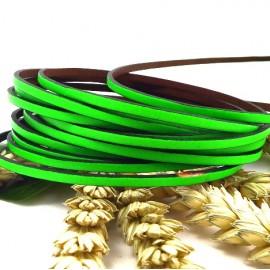 Cuir plat 3mm vert fluo
