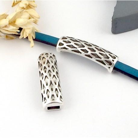 5 passants tube ecailles courbe 30mm plaque argent pour cuir plat 5mm