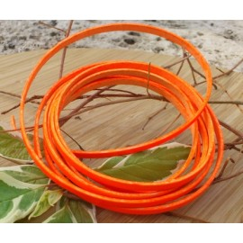 Cuir plat 5mm orange fluo