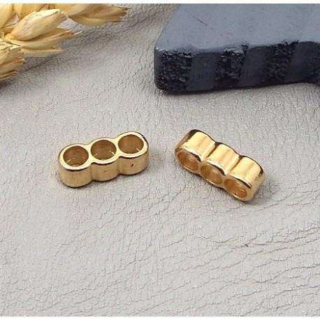 10 passe cuir separateur 3 trous zamak flashe or pour cuir 3mm