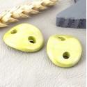 2 intercalaires ceramique vert pistache pour cuir 3mm