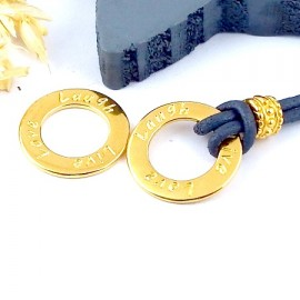 2 intercalaires cercle de voeux love live laugh zamak flashe or 20mm