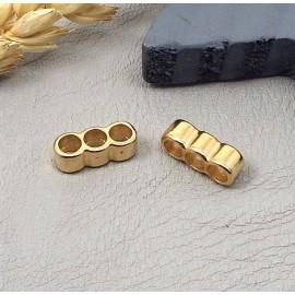 2 passe cuir separateur 3 trous zamak flashe or pour cuir 3mm
