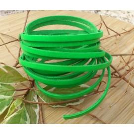 Cuir plat 5mm vert fluo