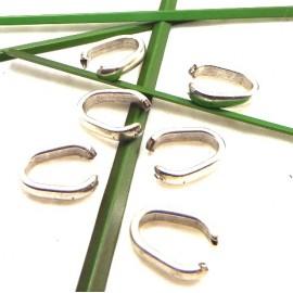 4 grands anneaux ouverts 15x8x3mm zamak plaque argent haute qualite