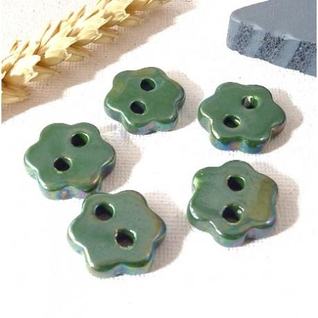 5 connecteurs ceramique passe cuir vert irise 20mm pour cuir 2mm