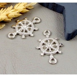 Intercalaire gouvernail marin plaque argent 31x20mm
