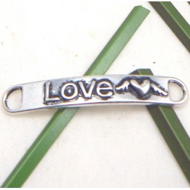 Intercalaire entre deux love metal argente 38x6mm