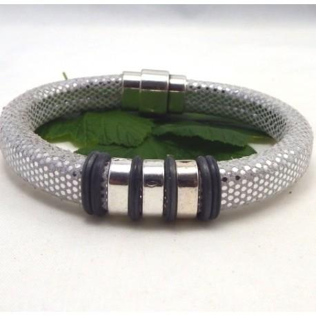 Kit tutoriel bracelet cuir regaliz argent paillettes avec perles et fermoir plaque argent