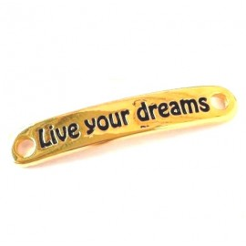 Connecteur live your dreams pour cuir ou rubans zamak flashe or 38x6 interieur 3mm