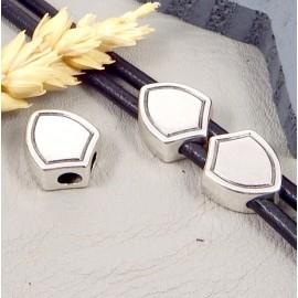 Passe cuir bloqueur decoupe plaque argent 3 trous pour cuir rond 3mm