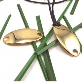 Connecteur intercalaire pour cuir ou rubans zamak flashe or 38x19 interieur 5mm