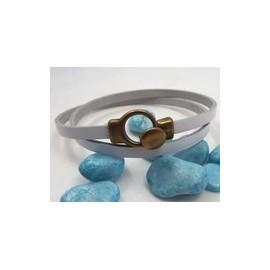 Kit tutoriel bracelet cuir blanc fermoir boucle bronze
