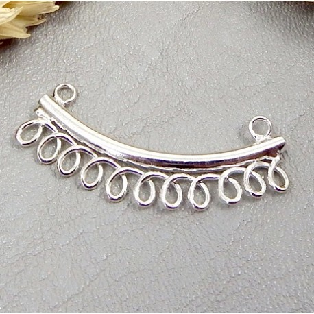 intercalaire connecteur 11 anneaux accrochage metal plaque argent 30mm