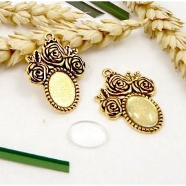 2 pendentifs fleurs dores support avec cabochon verre 13x10mm