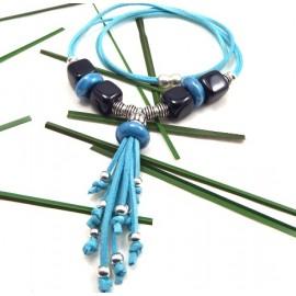 kit tutoriel collier cordon turquoise perles céramique noires