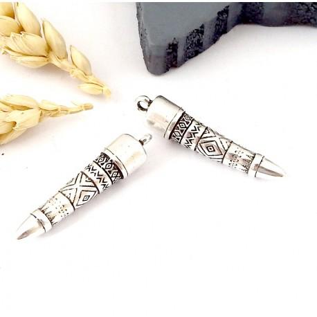 3 pendentifs totem ethnique plaque argent 35mm