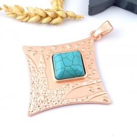 grand pendentif boheme couleur or rose et turquoise 93mm