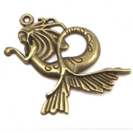 Grand pendentif original sirene 45x39mm bronze