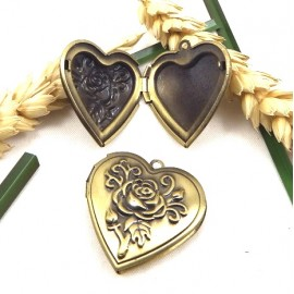 Pendentif coeur porte photo bronze antique 29mm