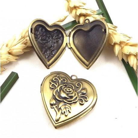 pendentif coeur porte photo bronze antique 29mm