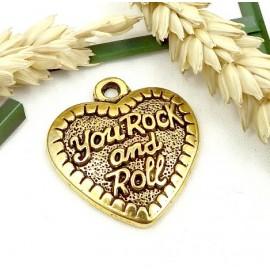 pendentif coeur rocknroll metal dore 27x29mm