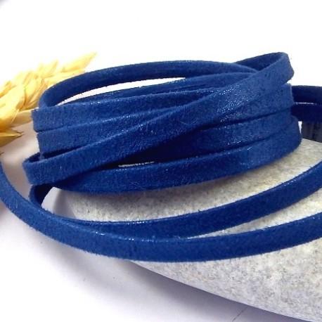 1 metre de laniere doublee repliee scintillante bleu navy 5mm