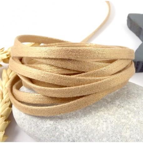 1 metre de laniere doublee repliee scintillante doree 5mm